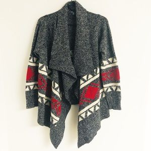 Charlotte Russe Open Waterfall Cardigan Aztec Gray